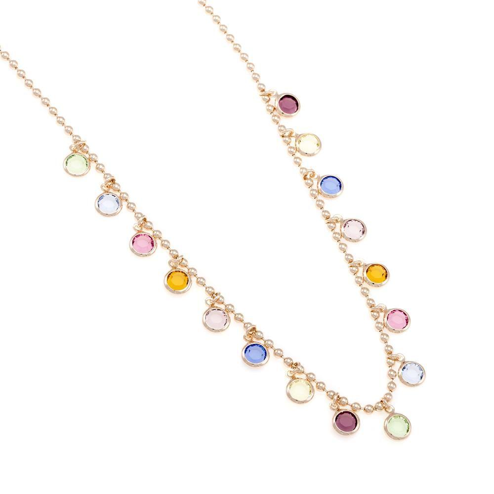 Paclo 16C068STNP999 argento ag 925 Collana Galvanica Rose e Swarovski Crystals Multicolor 42 piu 3cm