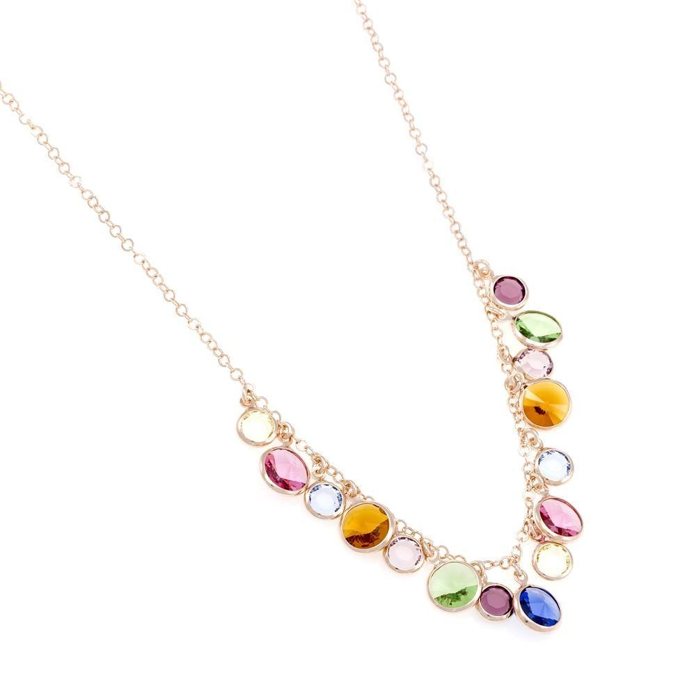 Paclo 16C069STNP999 argento ag 925 Collana Galvanica Rose e Swarovski Crystals Multicolor 42 piu 3cm