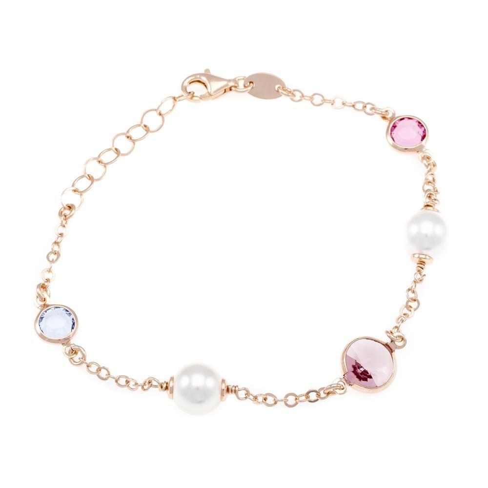Paclo 16C070STBP999 argento ag 925 Bracciale Galvanica Rose Perle sintetiche e Swarovski Crystals Multicolor 17 piu 3cm
