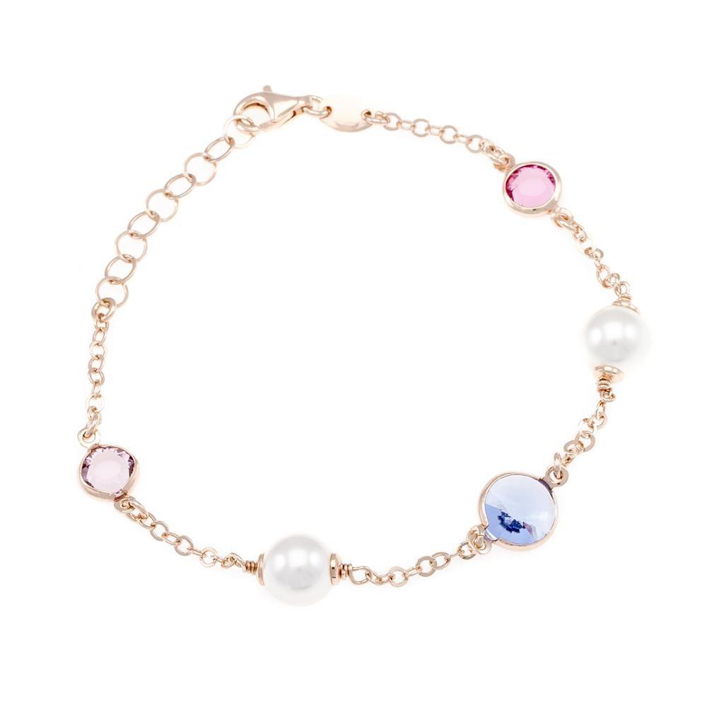 Paclo 16C072STBP999 argento ag 925 Bracciale Galvanica Rose Perle sintetiche e Swarovski Crystals Multicolor 17 piu 3cm