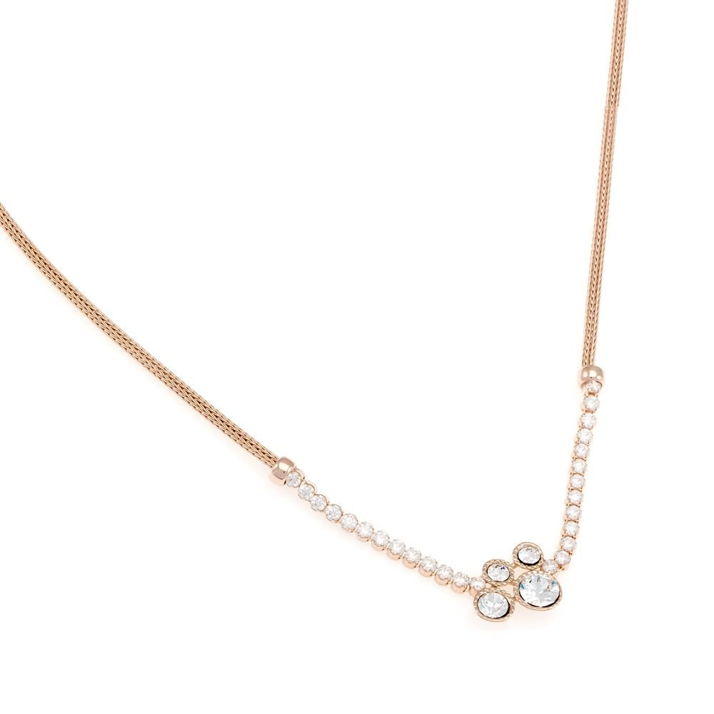 Paclo 16CA17ELNP999 argento ag 925 Collana Galvanica Rose Calza Zircone Bianco 42cm