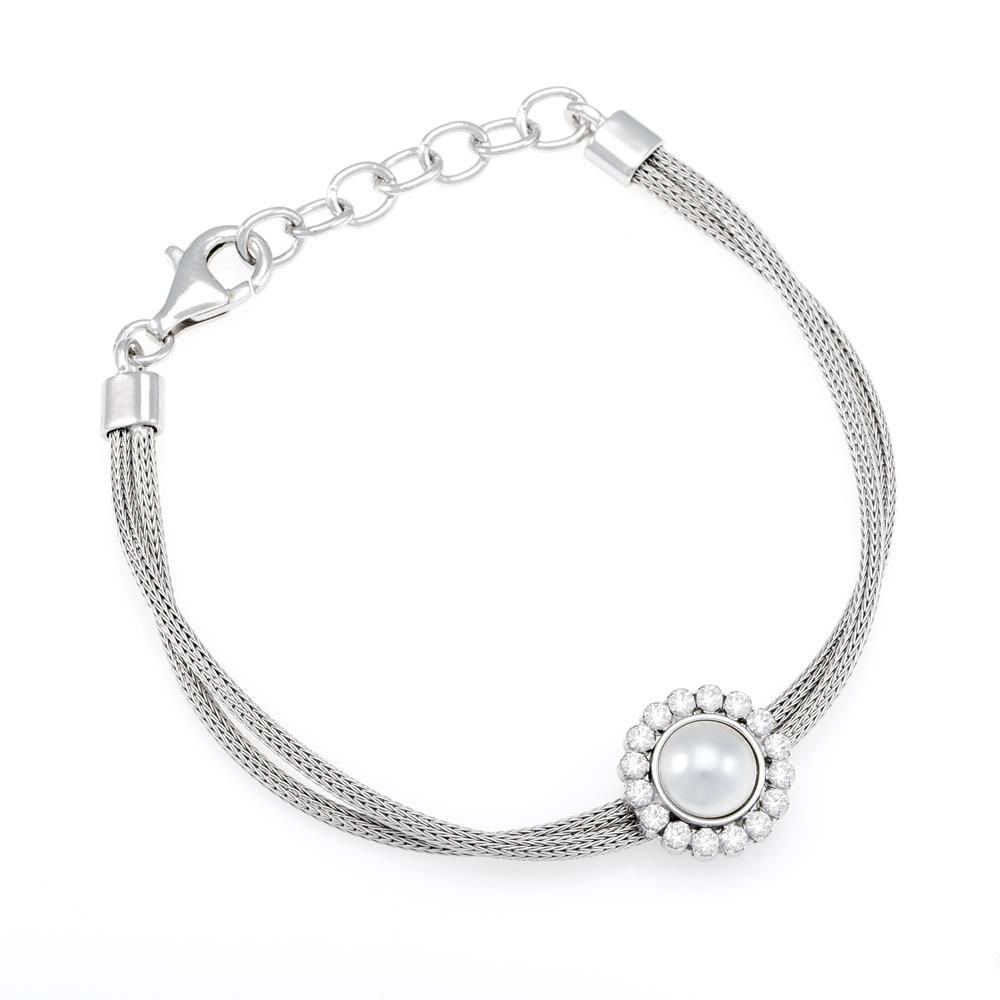 Paclo 16CA18ELBR999 argento ag 925 Bracciale Galvanica Rodiata Calza Perle sintetiche Zircone Bianco 17 piu 3cm