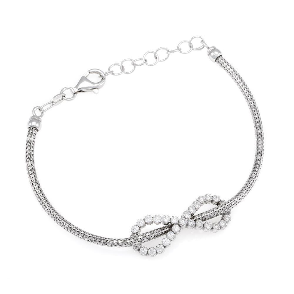 Paclo 16CA19ELBR999 argento ag 925 Bracciale Galvanica Rodiata Calza Zircone Bianco Infinito 17 piu 3cm