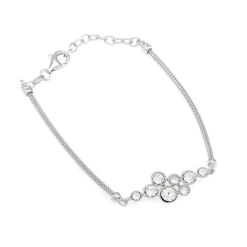 Paclo 16CA21ELBR999 argento ag 925 Bracciale Galvanica Rodiata Calza Zircone Bianco 17 piu 3cm