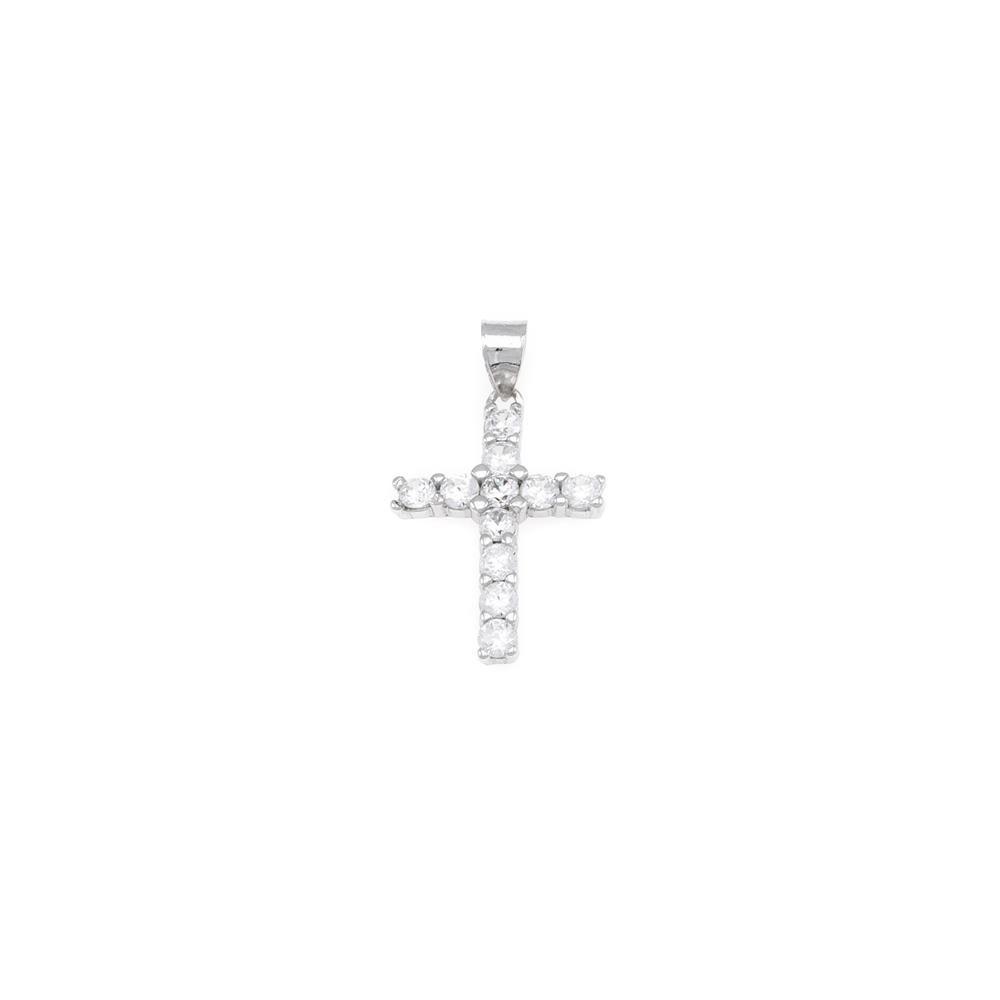 Paclo 16CR26REPR999 argento ag 925 Pendente Galvanica Rodiata Motivo Religioso Zircone Bianco 2cm