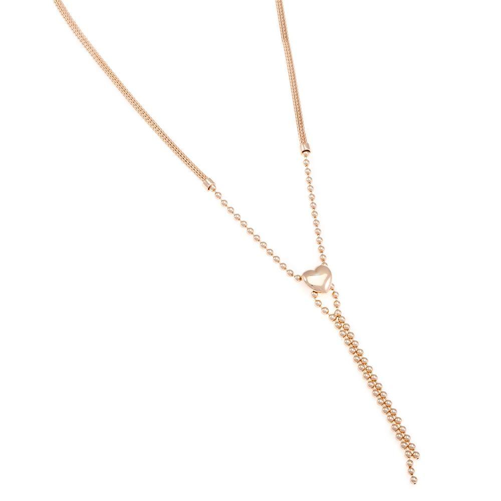Paclo 16CU02ELNP999 argento ag 925 Collana Galvanica Rose Calza Cuore 42cm