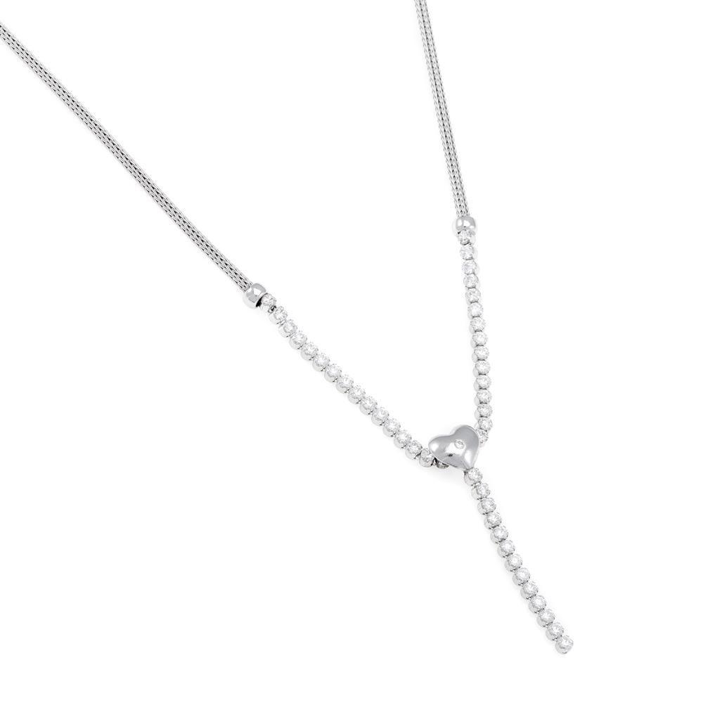 Paclo 16CU03ELNR999 argento ag 925 Collana Galvanica Rodiata Calza Zircone Bianco Cuore 42cm