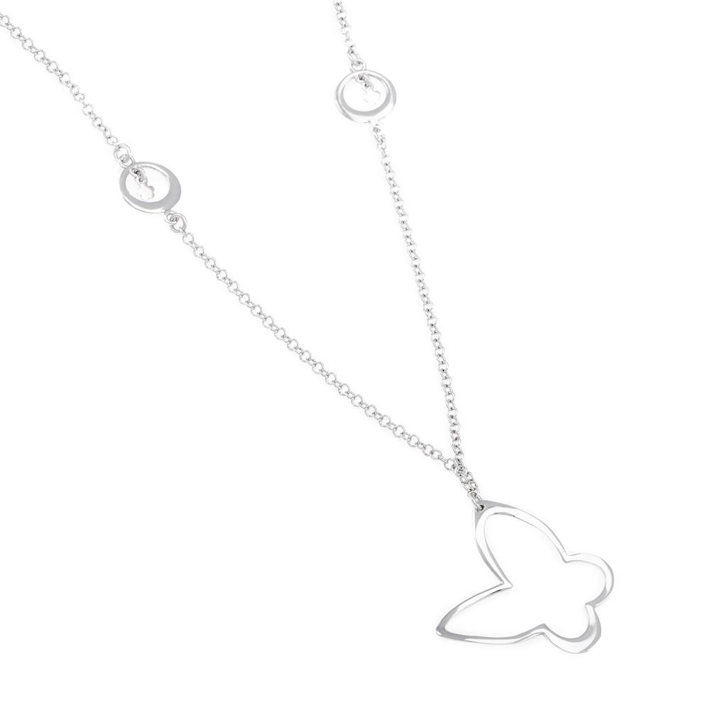 Paclo 16FA07LINR999 argento ag 925 Collana Galvanica Rodiata Farfalla 80 piu 5cm