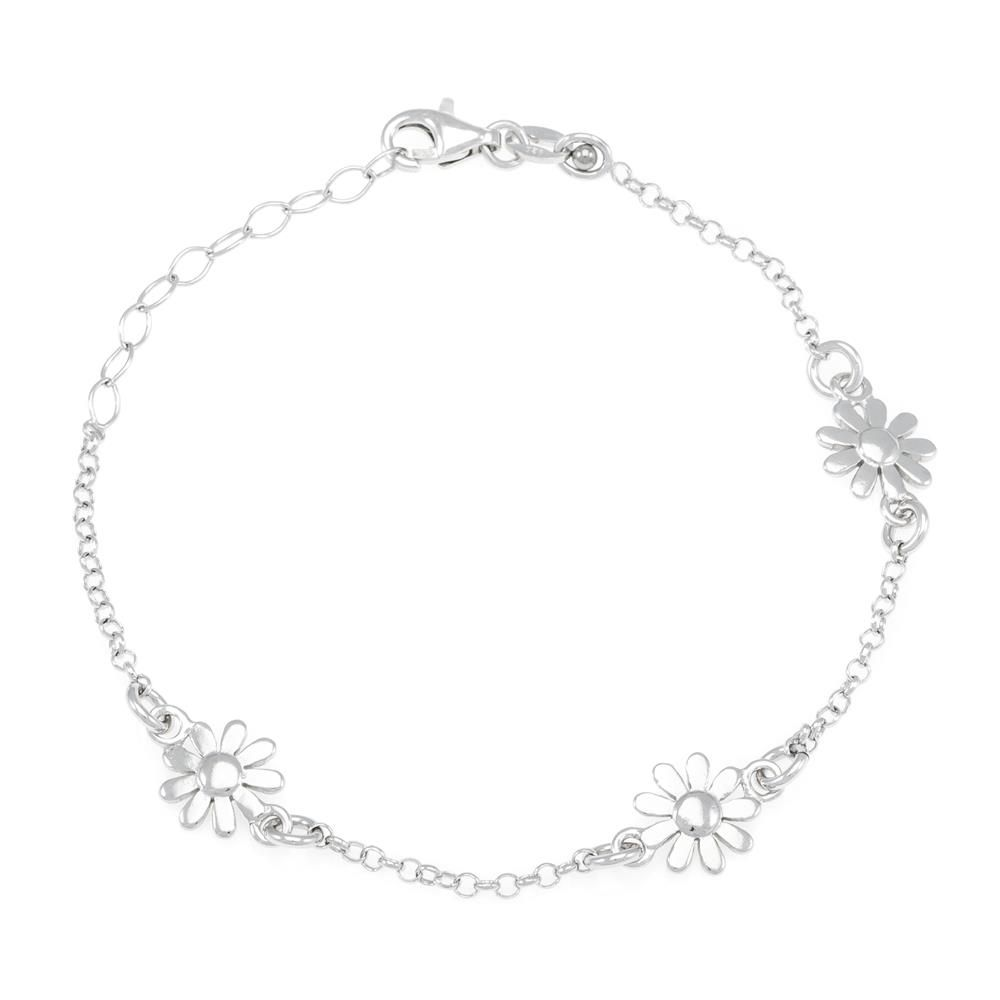 Paclo 16FI13LIBR999 argento ag 925 Bracciale Galvanica Rodiata Fiore 17 piu 3cm