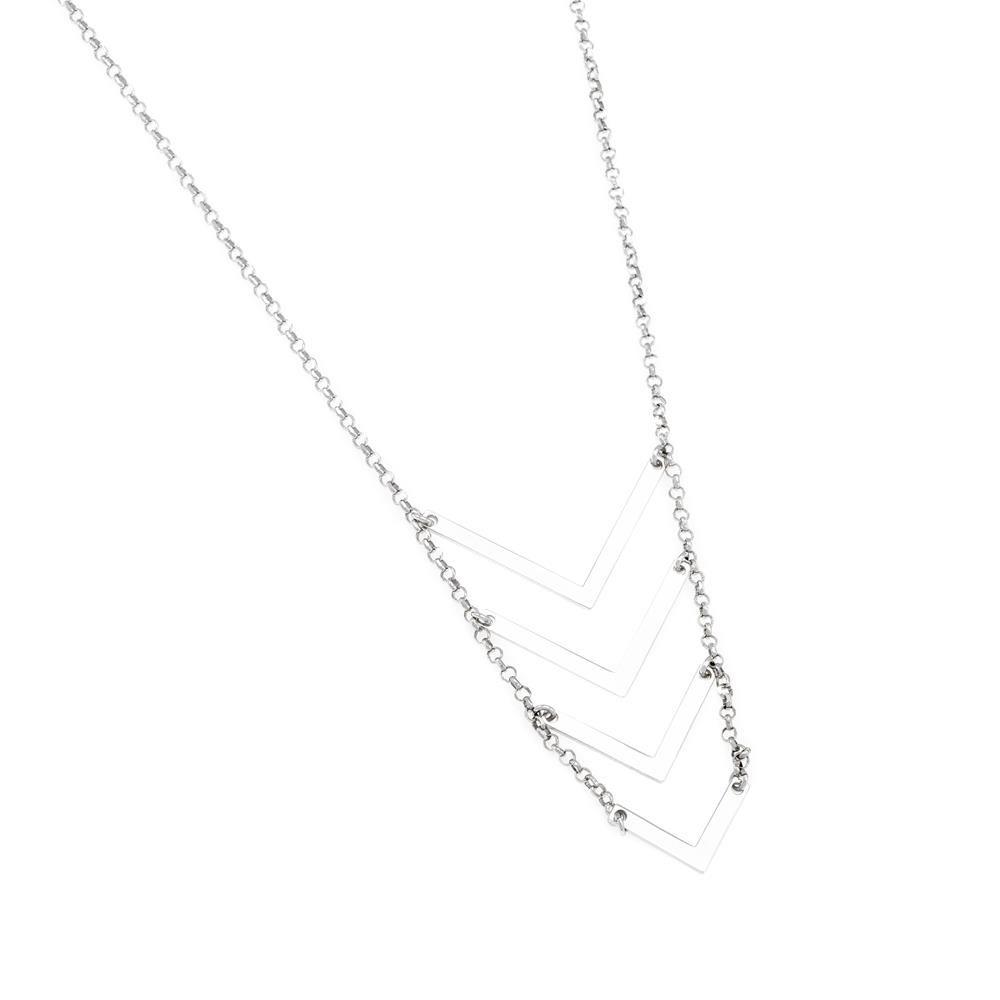 Paclo 16GE15CONR999 argento ag 925 Collana Galvanica Rodiata Geometric 75 piu 5cm