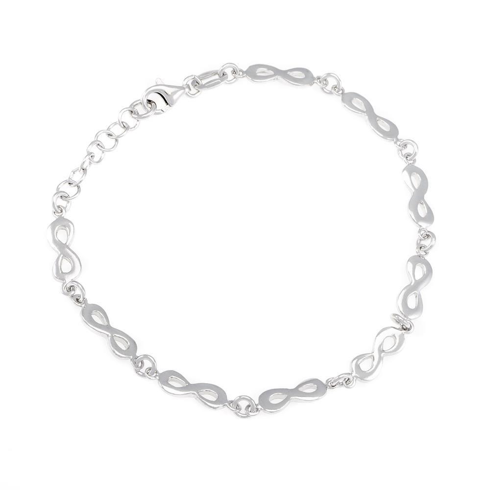 Paclo 16IN09LIBR999 argento ag 925 Bracciale Galvanica Rodiata Infinito 17 piu 3cm