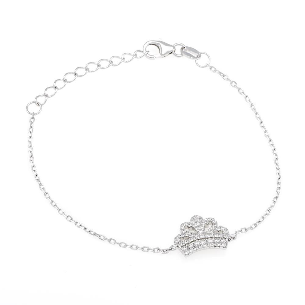 Paclo 16K001IPBR999 argento ag 925 Bracciale Galvanica Rodiata Zircone Bianco Corona 17 piu 3cm