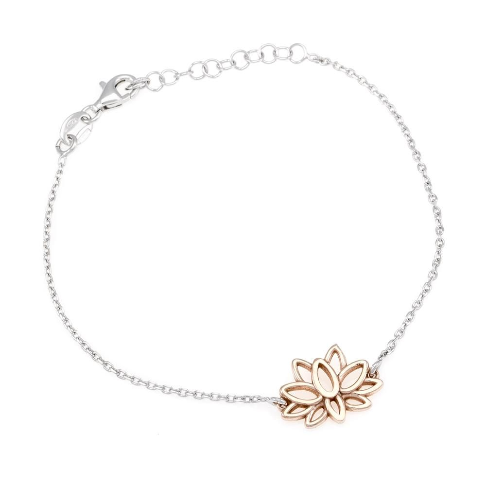 Paclo 16OH01LIBP999 argento ag 925 Bracciale Galvanica Rose Fiore di Loto 17 piu 3cm