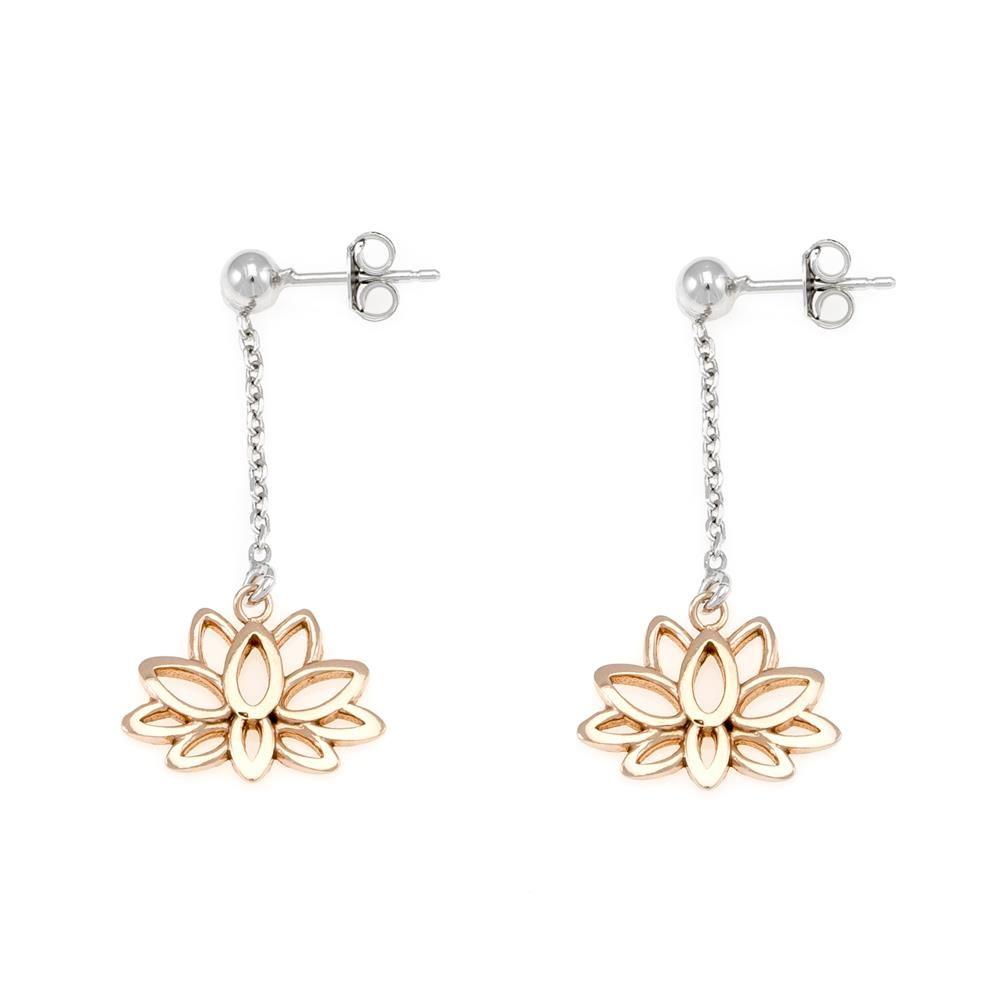Paclo 16OH01LIEP999 argento ag 925 Orecchini Galvanica Rose Fiore di Loto 3cm