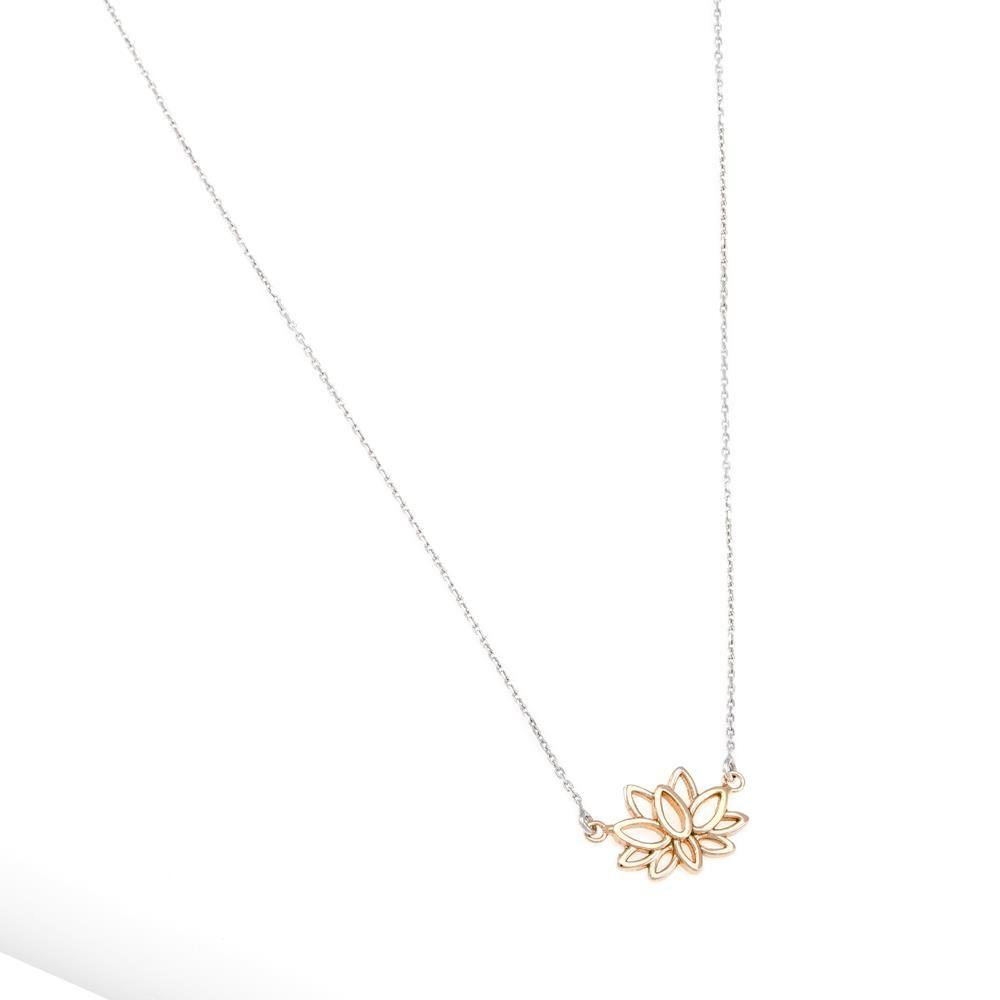 Paclo 16OH01LINP999 argento ag 925 Collana Galvanica Rose Fiore di Loto 43 piu 5cm