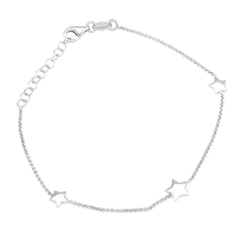 Paclo 16ST22LIBR999 argento ag 925 Bracciale Galvanica Rodiata Stella 17 piu 3cm