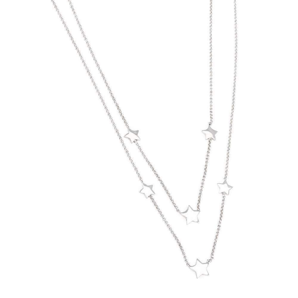 Paclo 16ST22LINR999 argento ag 925 Collana Galvanica Rodiata Multifilo Stella 40 piu 5cm