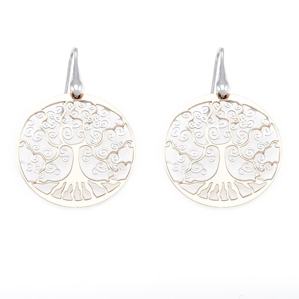 Paclo 16TL03LIEP999 argento ag 925 Orecchini Galvanica Rose Albero della Vita 3cm