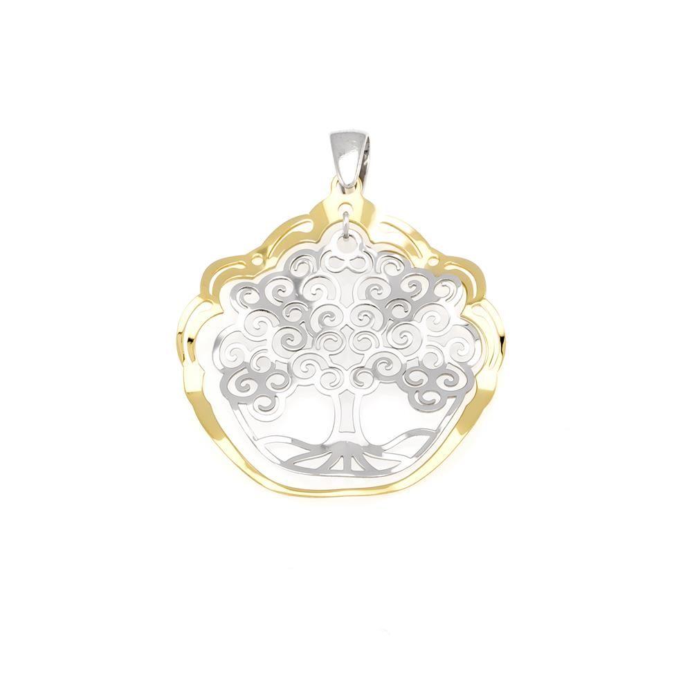 Paclo 16TL04LIPD999 argento ag 925 Pendente Galvanica Dorata Albero della Vita 36cm