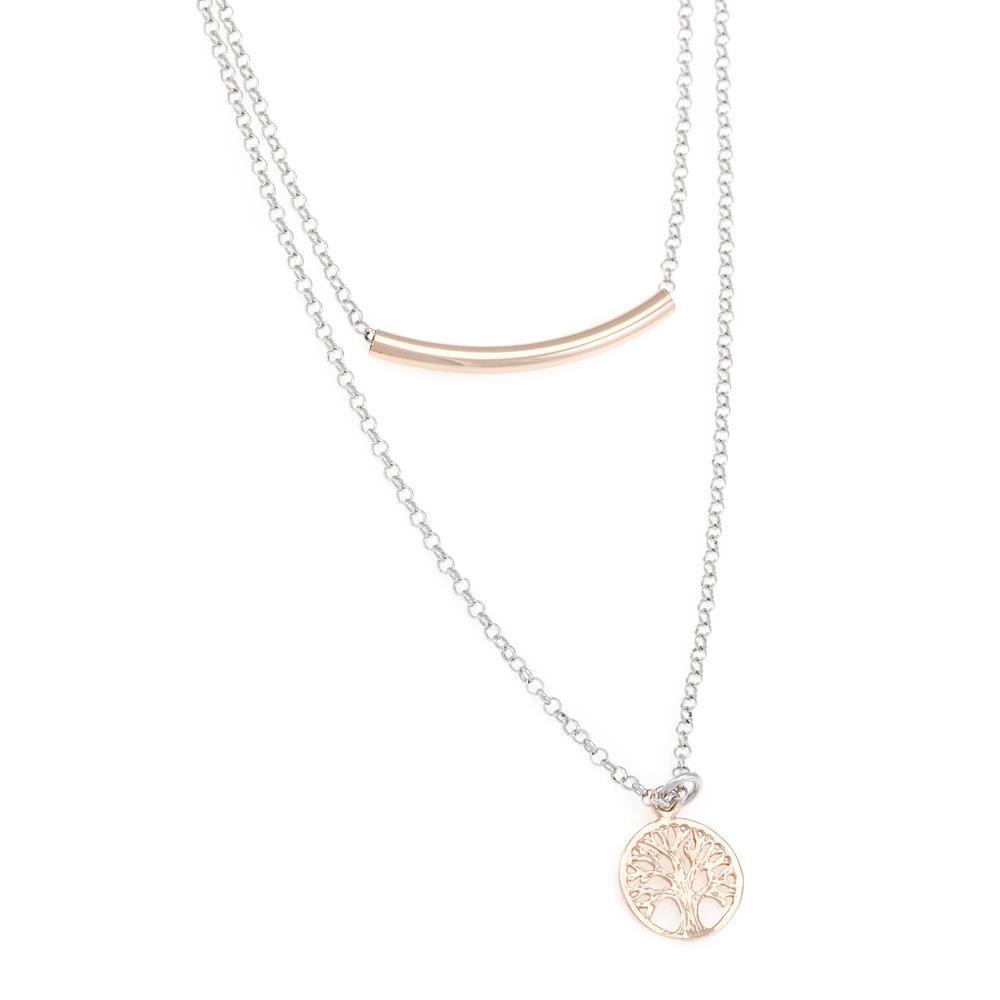 Paclo 16TL06LINP999 argento ag 925 Collana Galvanica Rose Multifilo Albero della Vita 40 piu 5cm