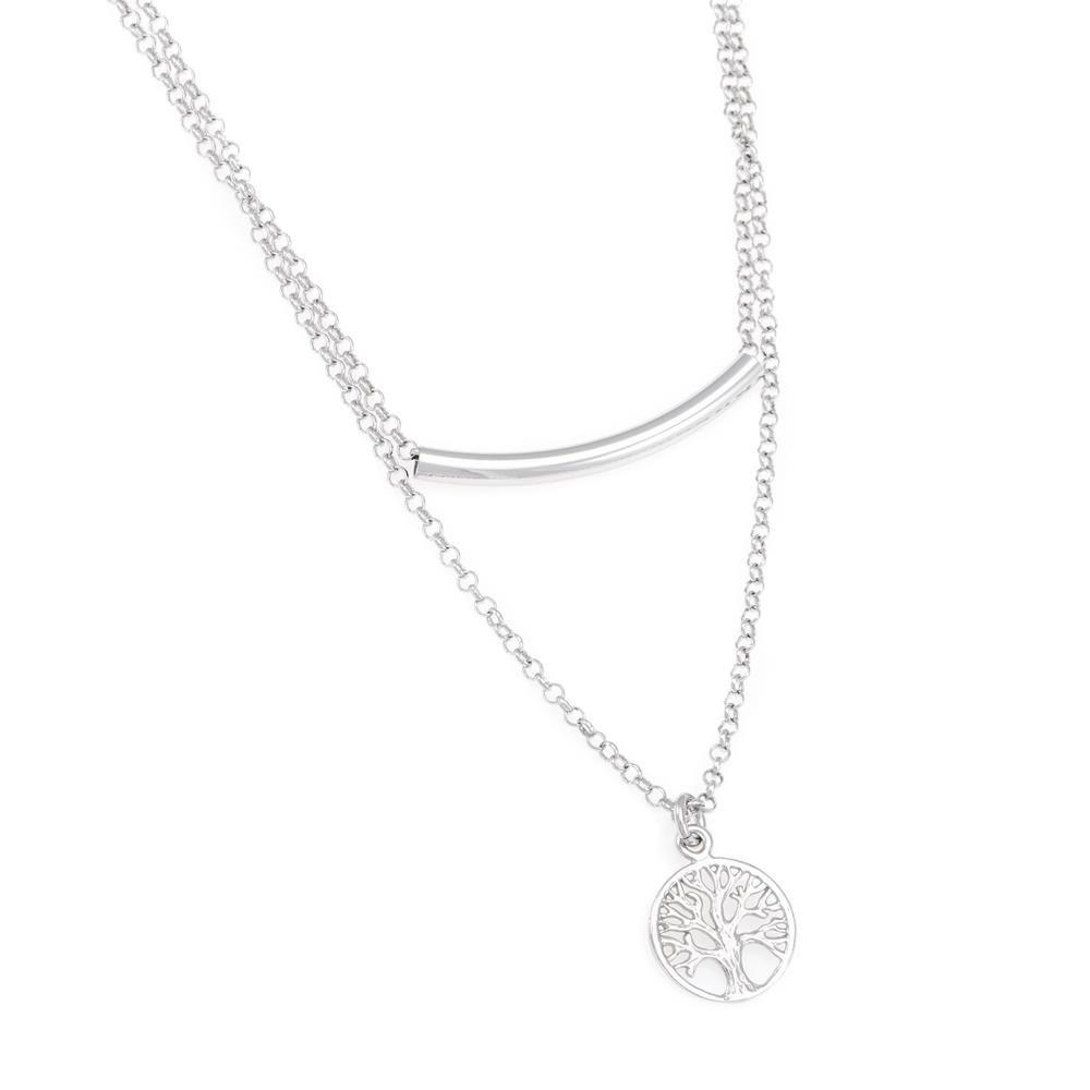 Paclo 16TL06LINR999 argento ag 925 Collana Galvanica Rodiata Multifilo Albero della Vita 40 piu 5cm