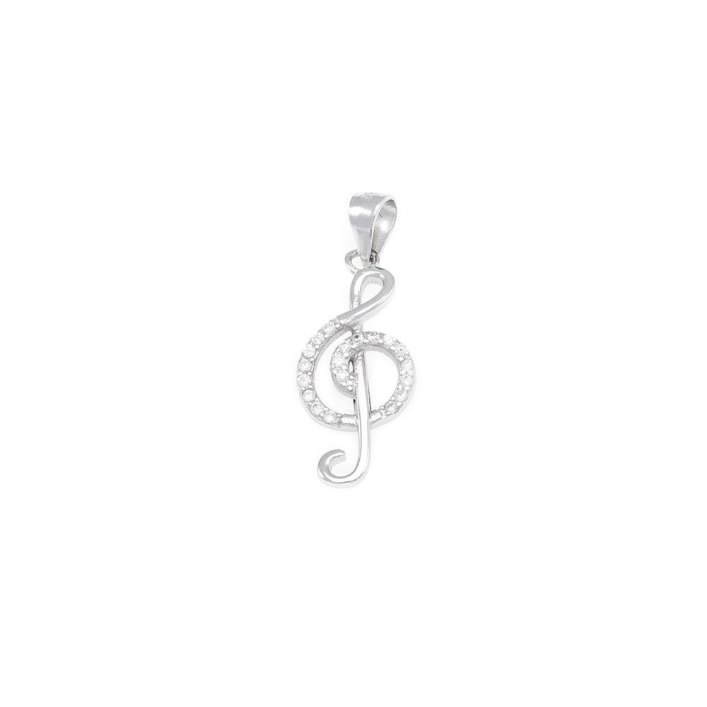 Paclo 16Z056IPPR999 argento ag 925 Pendente Galvanica Rodiata Zircone Bianco Chiave di Violino 25cm
