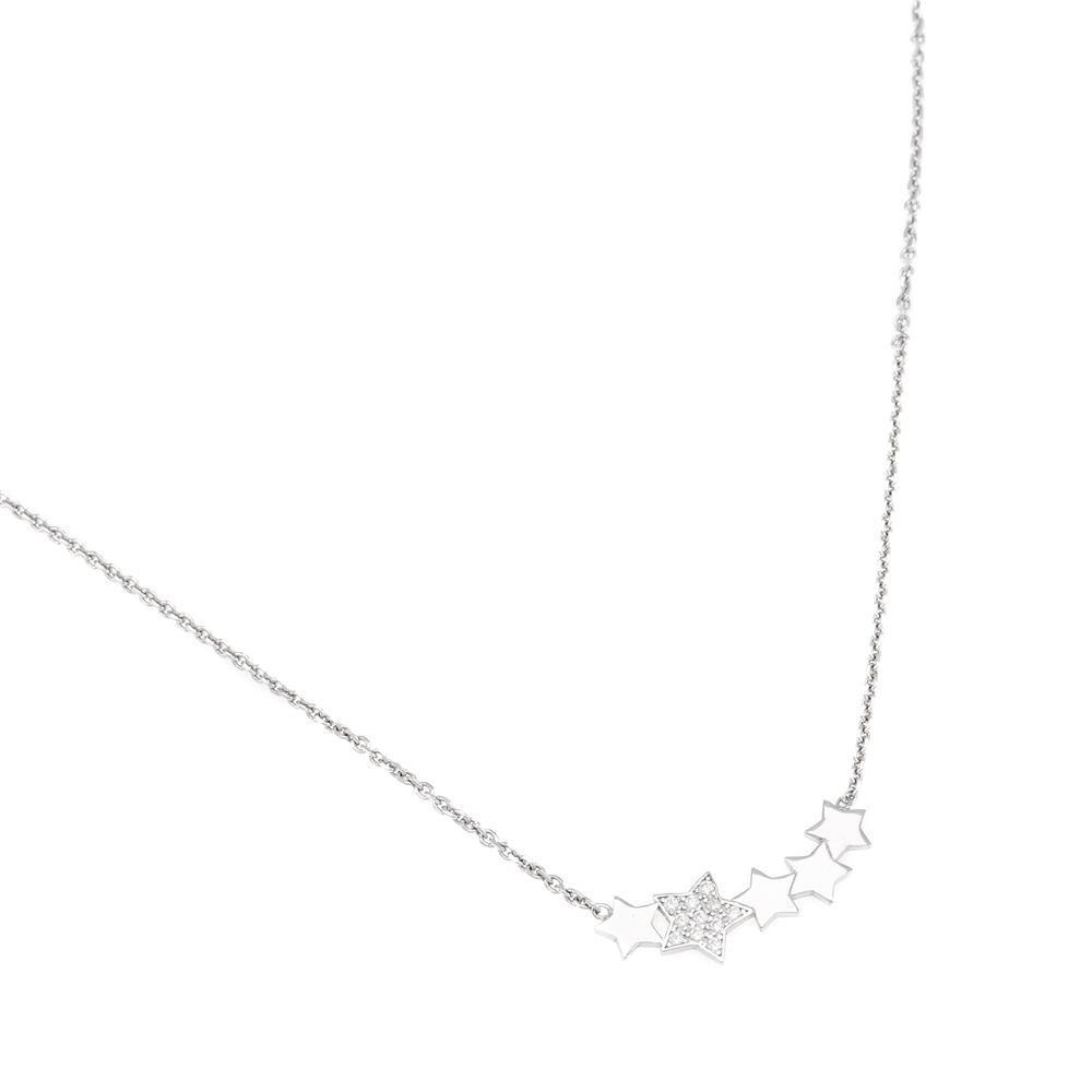 Paclo 16Z064IPNR999 argento ag 925 Collana Galvanica Rodiata Zircone Bianco Stelle 43 piu 5cm