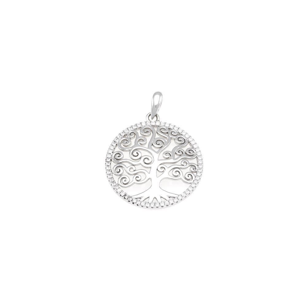 Paclo 16Z066IPPR999 argento ag 925 Pendente Galvanica Rodiata Zircone Bianco Albero della Vita 2cm
