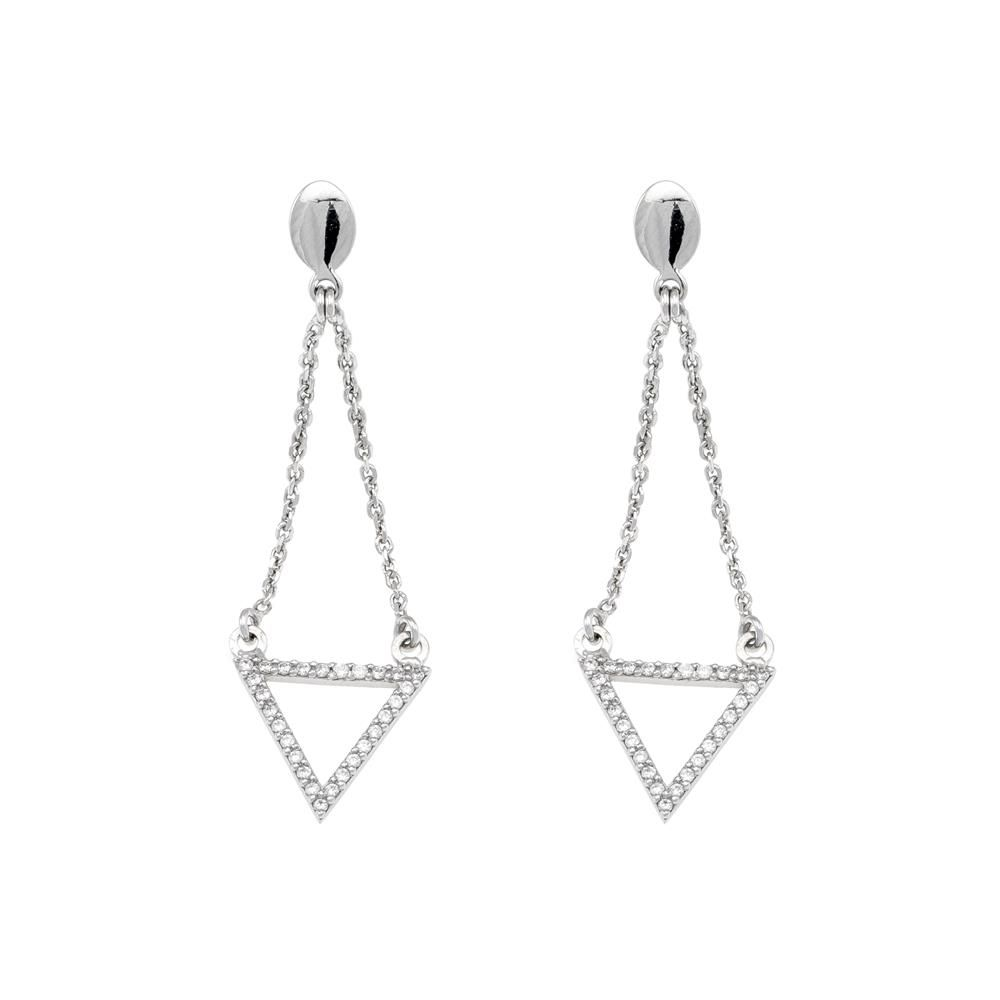 Paclo 16Z067IPER999 argento ag 925 Orecchini Galvanica Rodiata Zircone Bianco Triangoli 5cm