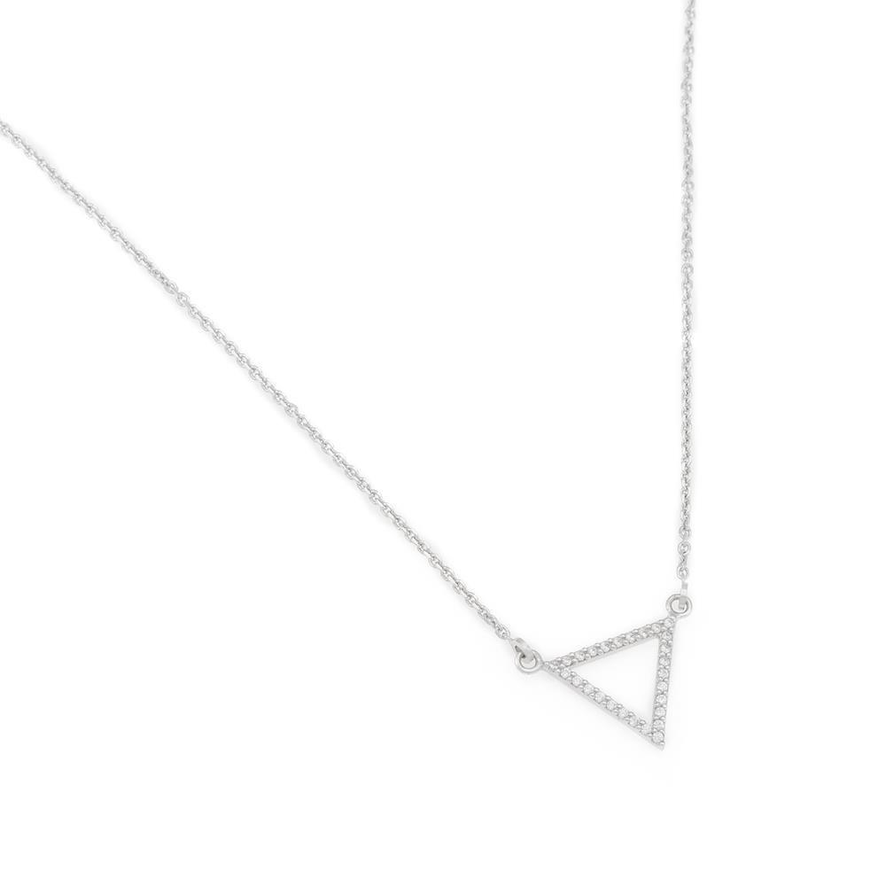 Paclo 16Z067IPNR999 argento ag 925 Collana Galvanica Rodiata Zircone Bianco Triangoli 43 piu 5cm