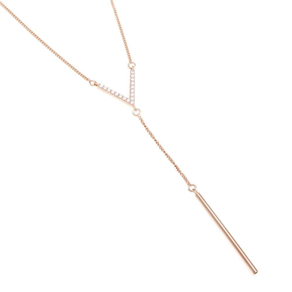 Paclo 16Z070IPNP999 argento ag 925 Collana Galvanica Rose Zircone Bianco Geometric 41 piu 5cm