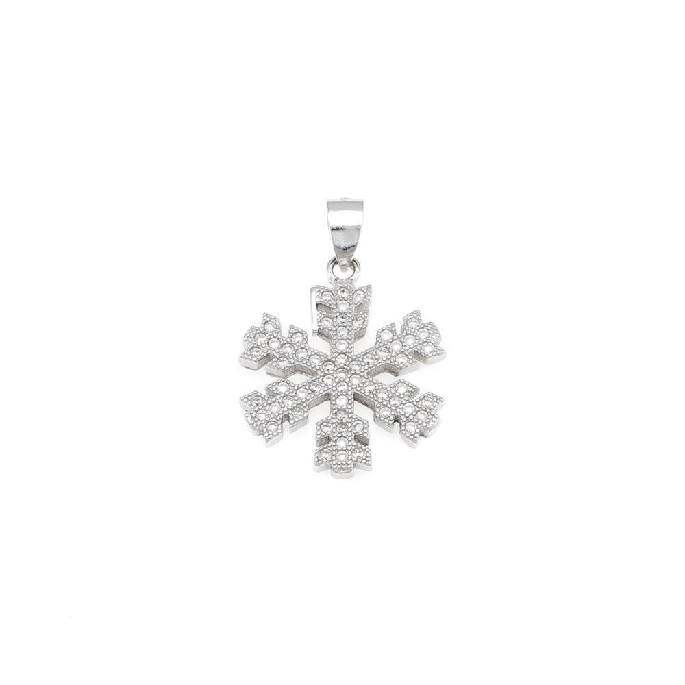 Paclo 16Z075IPPR999 argento ag 925 Pendente Galvanica Rodiata Zircone Bianco Fiocco di Neve 2cm