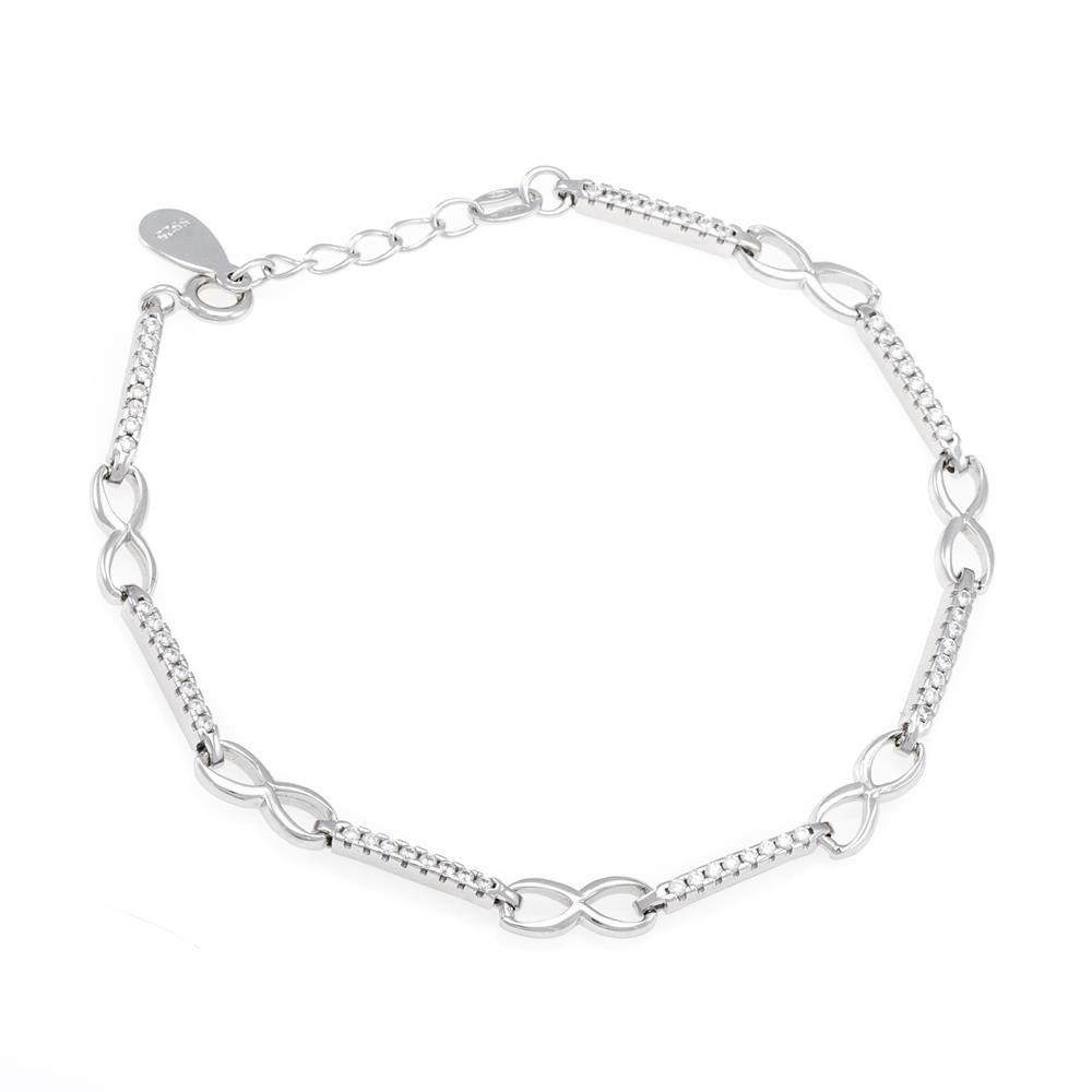Paclo 16Z079IPBR999 argento ag 925 Bracciale Galvanica Rodiata Zircone Bianco Infinito 17 piu 3cm