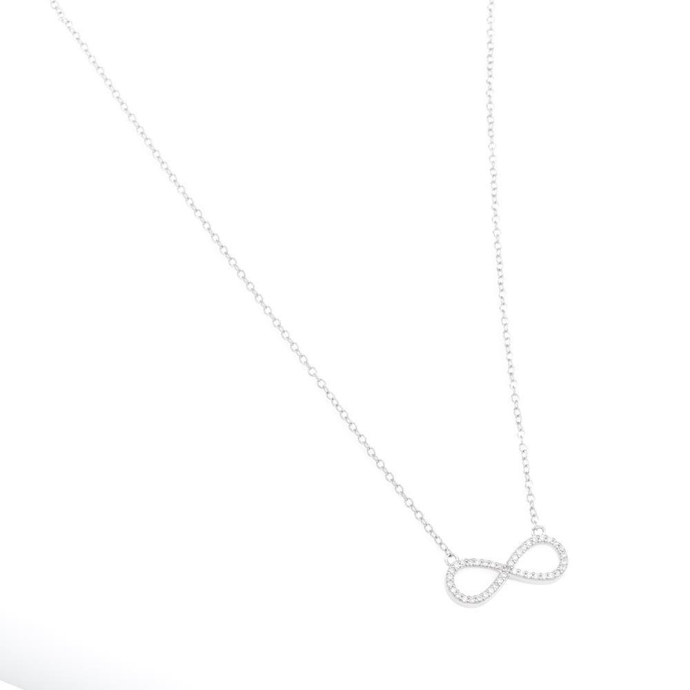 Paclo 16Z082IPNR999 argento ag 925 Collana Galvanica Rodiata Zircone Bianco Infinito 42 piu 3cm