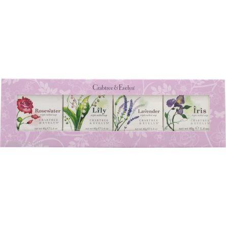 Crabtree  Evelyn Confezione Regalo 4 x 40 g Saponi Rosewater  Lily  Lavender  Iris