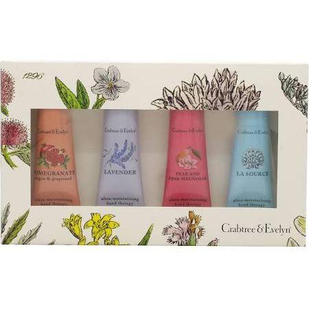 Crabtree  Evelyn Hand Therapy Confezione Regalo 4 x 25ml Crema Mani Lavender  La Source  Pomegranate Argan  Grapeseed  Pear and Pink Magnolia