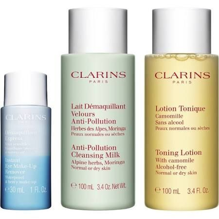Clarins Cleansing Essentials Viso ed Occhi Confezione Regalo  Pelle NormaleSecca 30ml Struccante  100ml Latte Detergente Anti Pollution  100ml Lozione Tonica