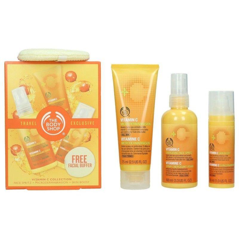 The Body Shop Vitamin C Travel Exclusive Confezione Regalo 100 ml Spray Energizzante Viso  75 ml Microdermoabrasione  30 ml Skin Boost  Spugnetta Viso