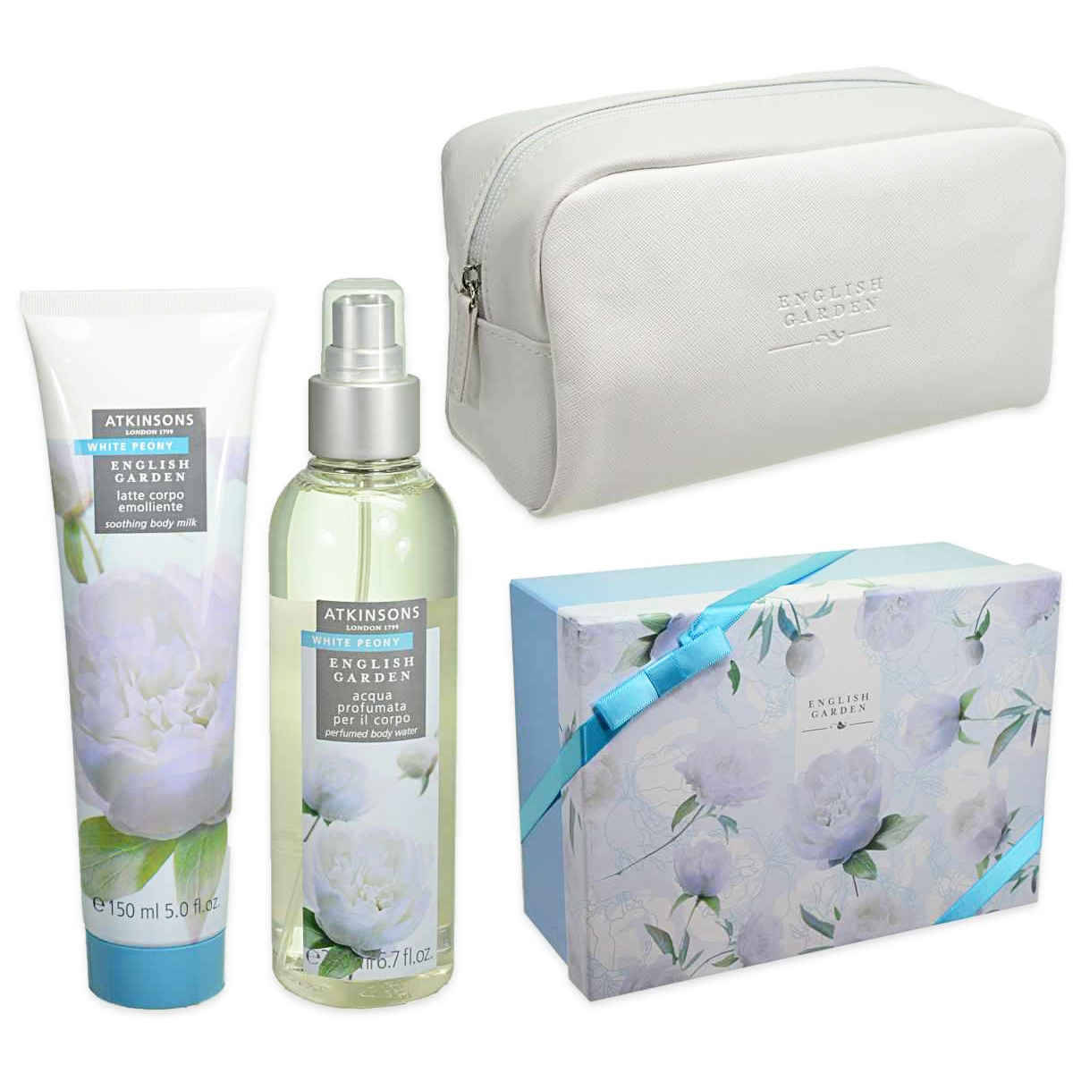 Atkinsons  Cofanetto english garden white peony  body water 200 ml  body lotion 150 ml  pouch
