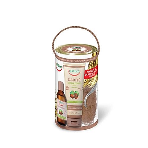 Equilibra  Cofanetto olio naturale karite  olio corpo 120 ml  crema corpo fluida 200 ml  spugnarete light coordinato