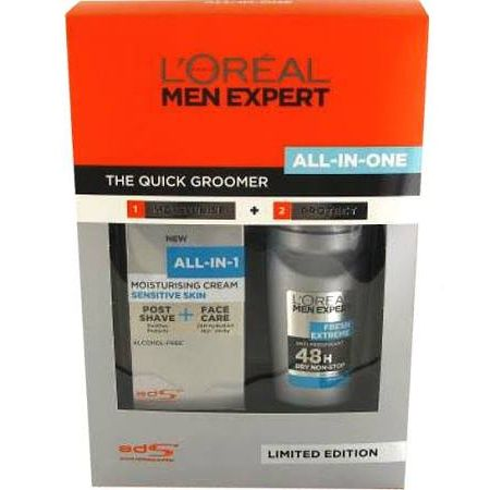 LOreal Men Expert The Quick Groomer Confezione Regalo 75ml All In One Sensitive Crema Idratante  50ml Fresh Extreme AntiTraspirante Roll on