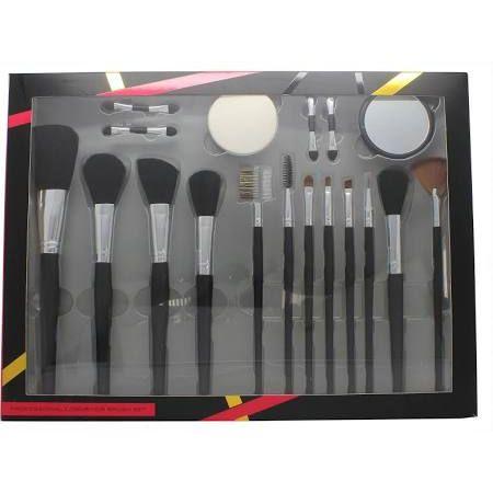 Active Cosmetics Professional Cosmetics Brush Set 4 Applicatori  Spugnetta  Specchio  12 Pennelli