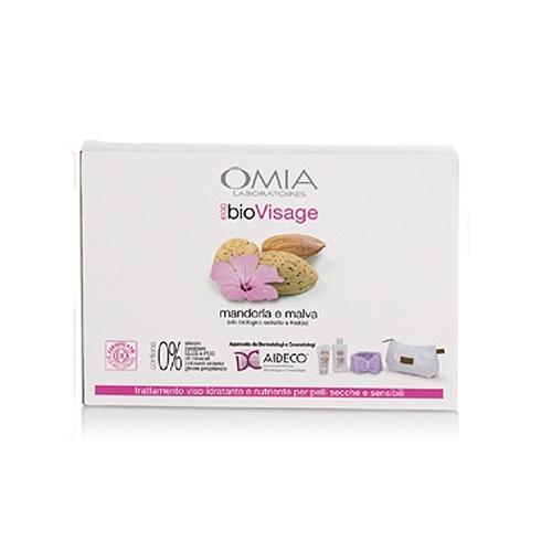Omia  Cofanetto ecobio visage beauty routine mandorla e malva  crema viso 75 ml  detergente viso 200 ml  fascia per capelli  beauty case