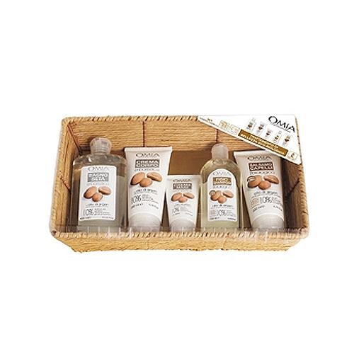 Omia  Cofanetto cestino naturale olio di argan  bagno 400 ml  crema corpo 200 ml  crema mani 75 ml  shampoo 250 ml  balsamo 200 ml