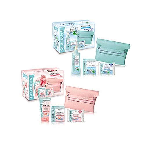 Clinians  Cofanetto hydra basic  detergente viso 150 ml  crema idratante 50 ml  salviette struccanti 10 pz  pochette vari tipi