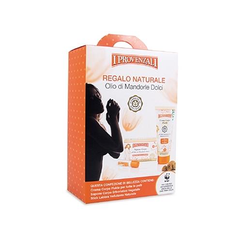 I Provenzali  Cofanetto regalo naturale olio di mandorle dolci  crema corpo fluida 200 ml  sapone corpo vegetale 250g  stick labbra vellutante