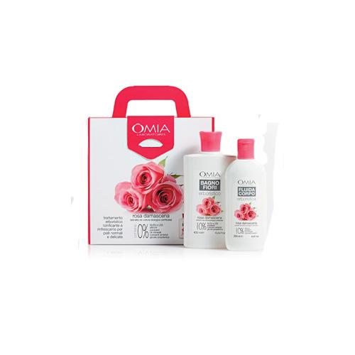 Omia Cofanetto rosa damascena bio bagno fiori 400 ml  crema fluida corpo 250 ml