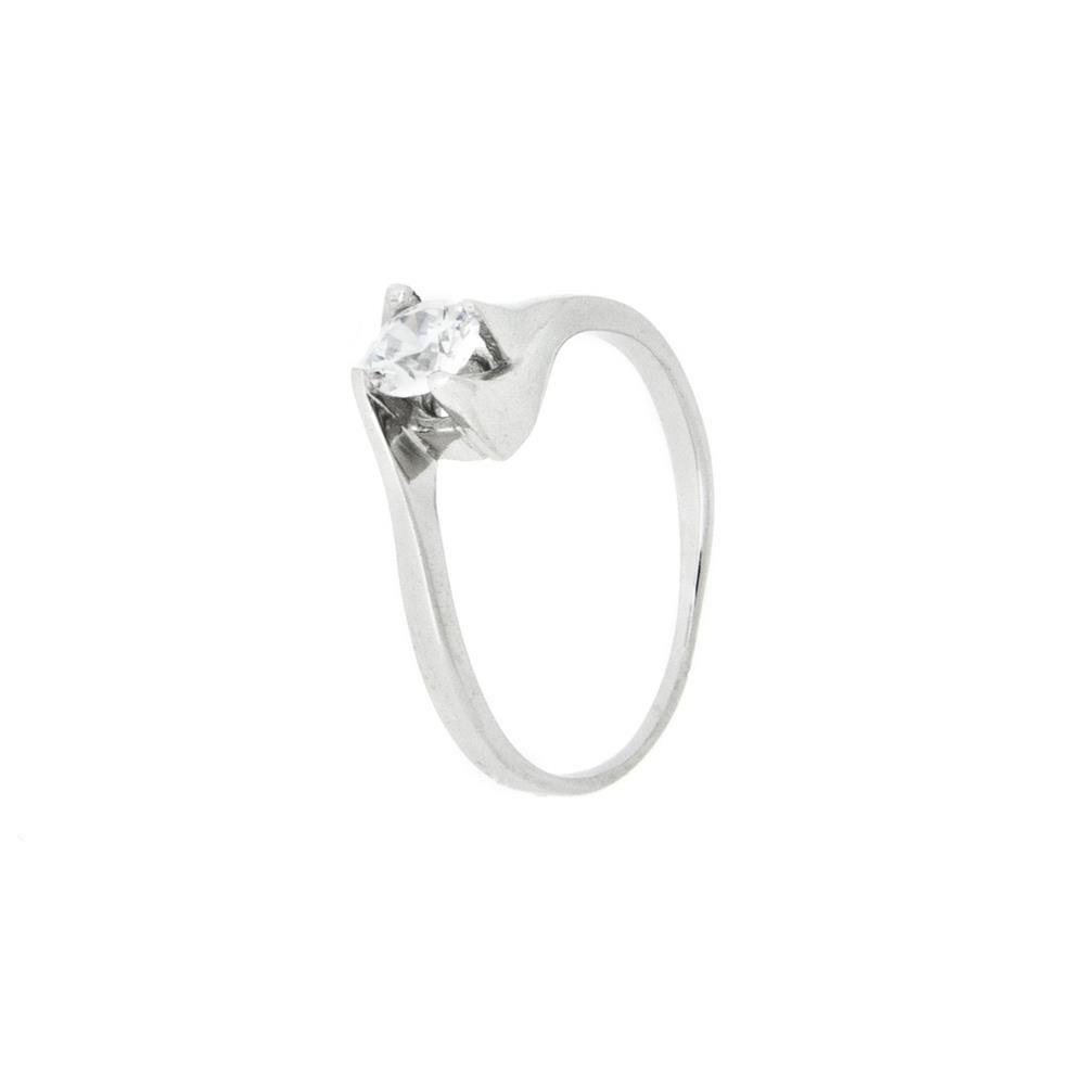 Paclo 11Z106IPRR995 argento ag 925 Anello Dim 13 ITA o 53 ISO Galvanica Rodiata Zircone Bianco
