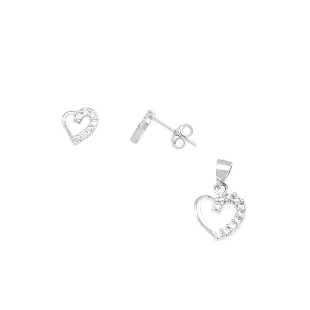 Paclo 16C061IPSR999 argento ag 925 Set Galvanica Rodiata Zircone Bianco Cuore P 1cm E 05cm
