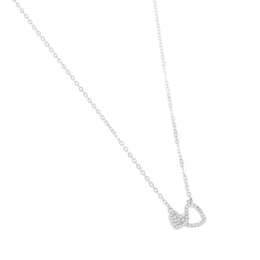 Paclo 16C064IPNR999 argento ag 925 Collana Galvanica Rodiata Zircone Bianco Cuore 42 piu 3cm